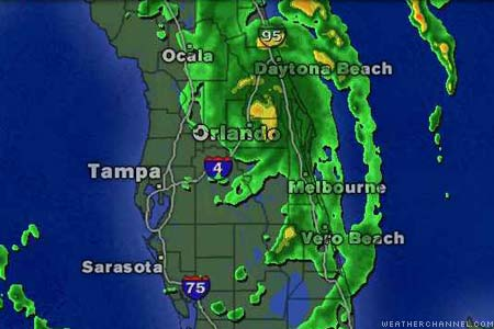 Doppler radar image of hurricane over Florida.