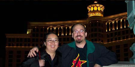 Photo of Joe & Judy at the Bellagio at night.