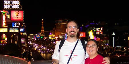 Photo of Joe & Judy at the Las Vegas Strip at night.