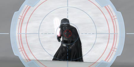 In a screenshot from Star Wars Battlefront, I've got a sniper lock on Darth Vader.