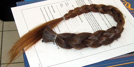 My hair in a braid, cut off and ready for donation.